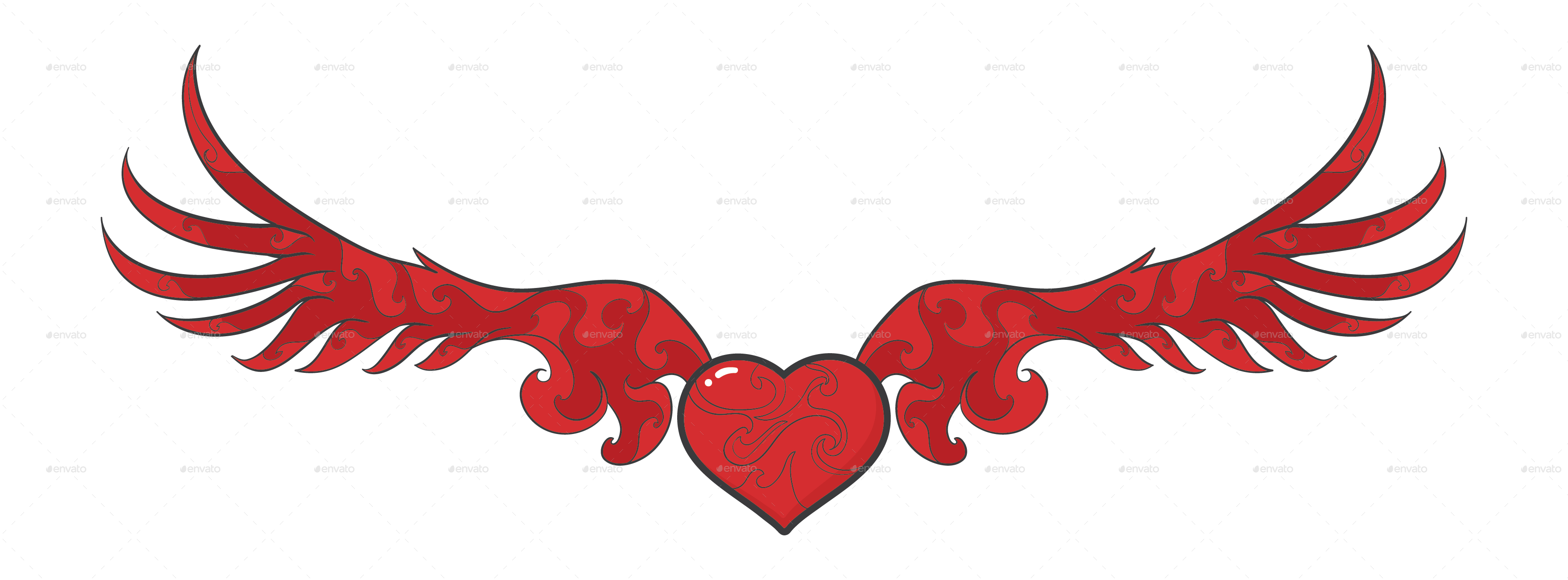 Wings with heart clipart svg freeuse stock 14 Wings of Love by loetoeng | GraphicRiver svg freeuse stock