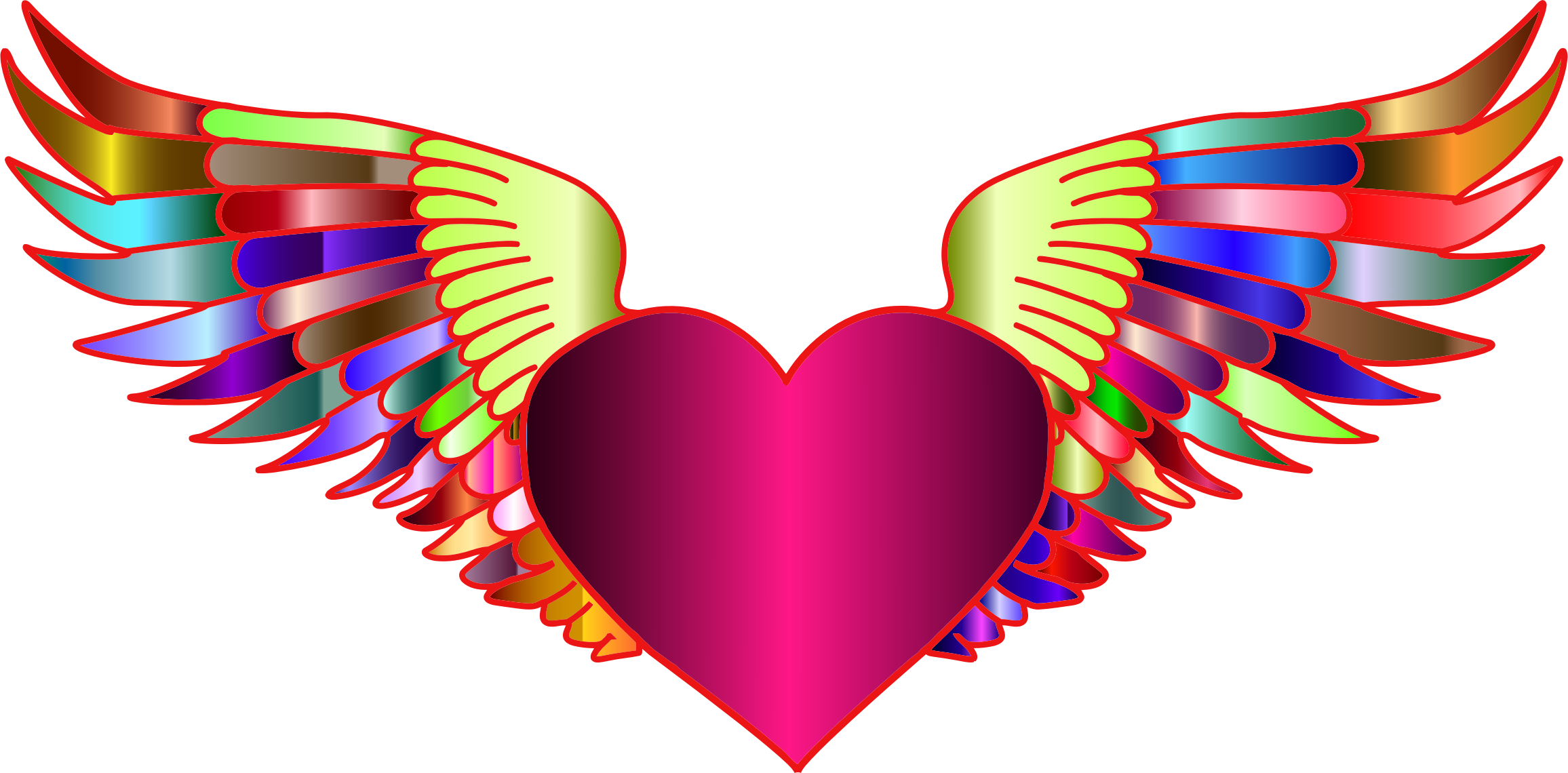 Wings with heart clipart jpg free download Clipart - Prismatic Flying Heart 2 jpg free download