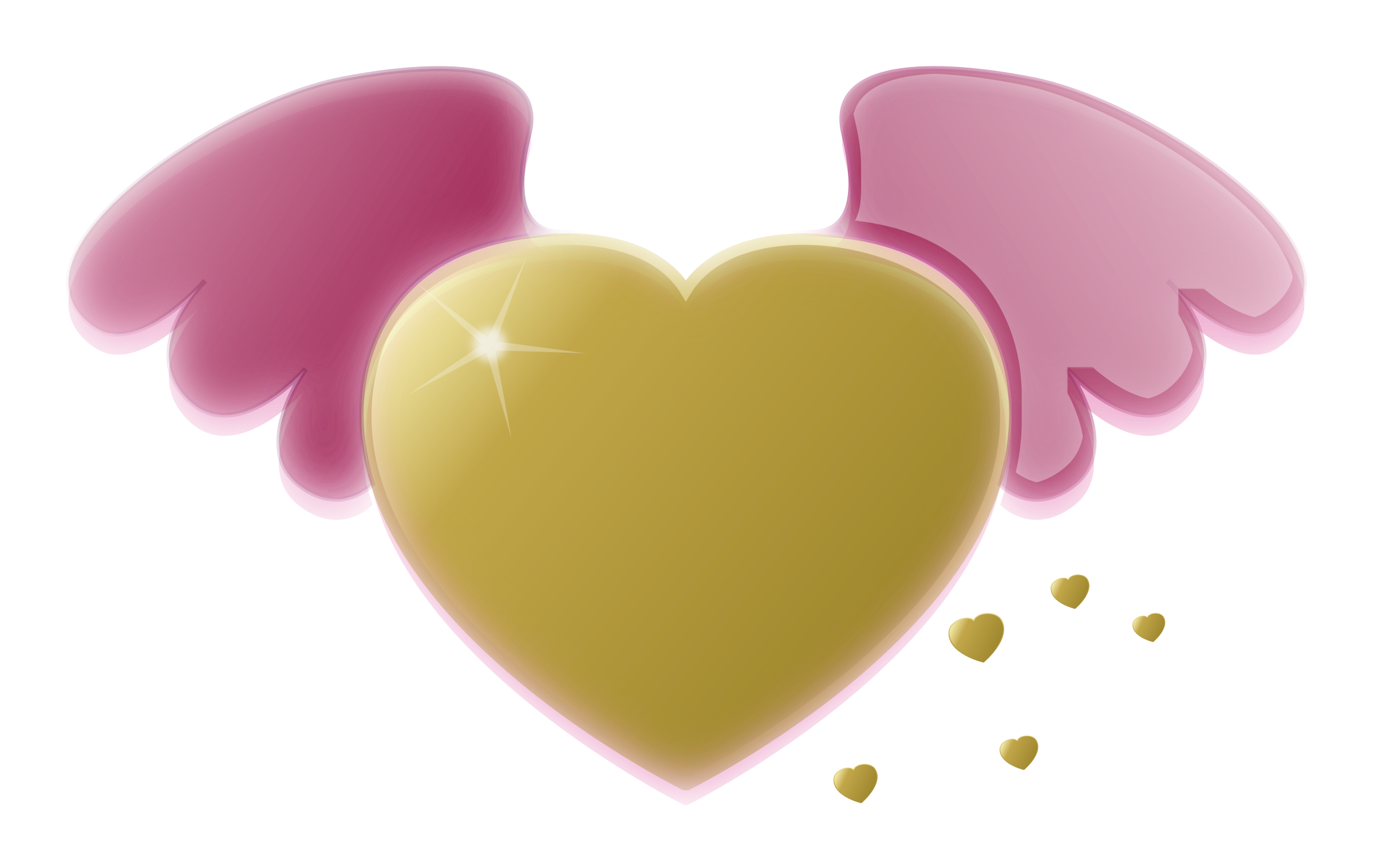 Pink and gold pumpkin clipart graphic Clipart - Gold Heart with Pink Wings graphic