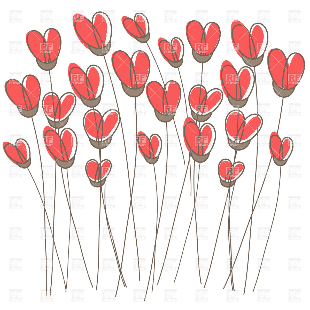 Clipart hearts and flowers clip black and white library Free clipart hearts and flowers - ClipartFest clip black and white library