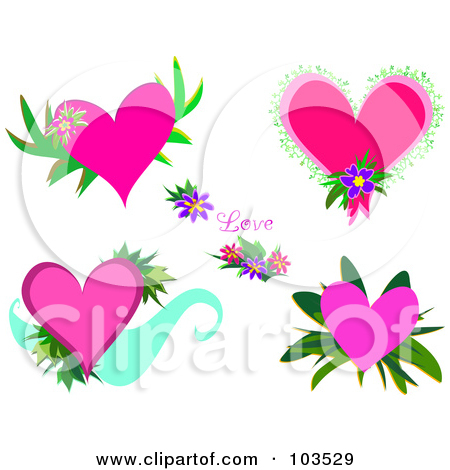 Clipart hearts and flowers. Royalty free rf floral