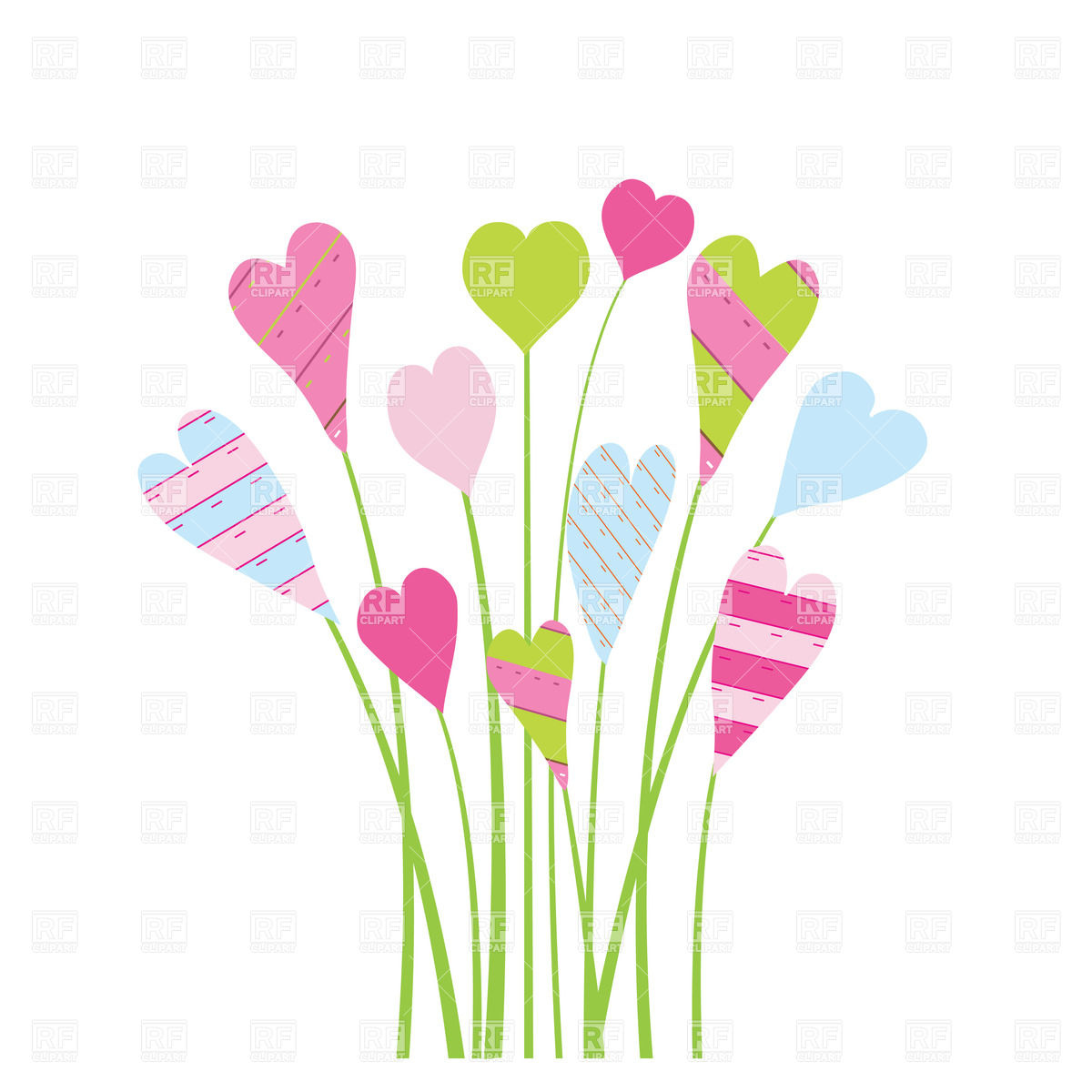 Clipart hearts and flowers. Kid bright valentine s