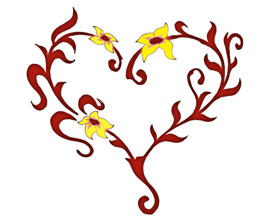 Heart flower tattoo free. Clipart hearts and flowers