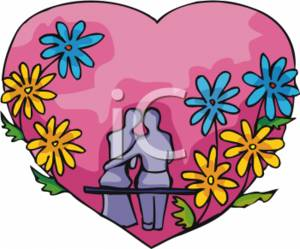 Picture of a couple. Clipart hearts and flowers