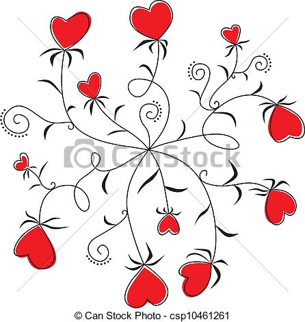 Clipart hearts and flowers picture black and white stock Clip Art Vector of Round Dance flowers hearts - Round Dance flower ... picture black and white stock
