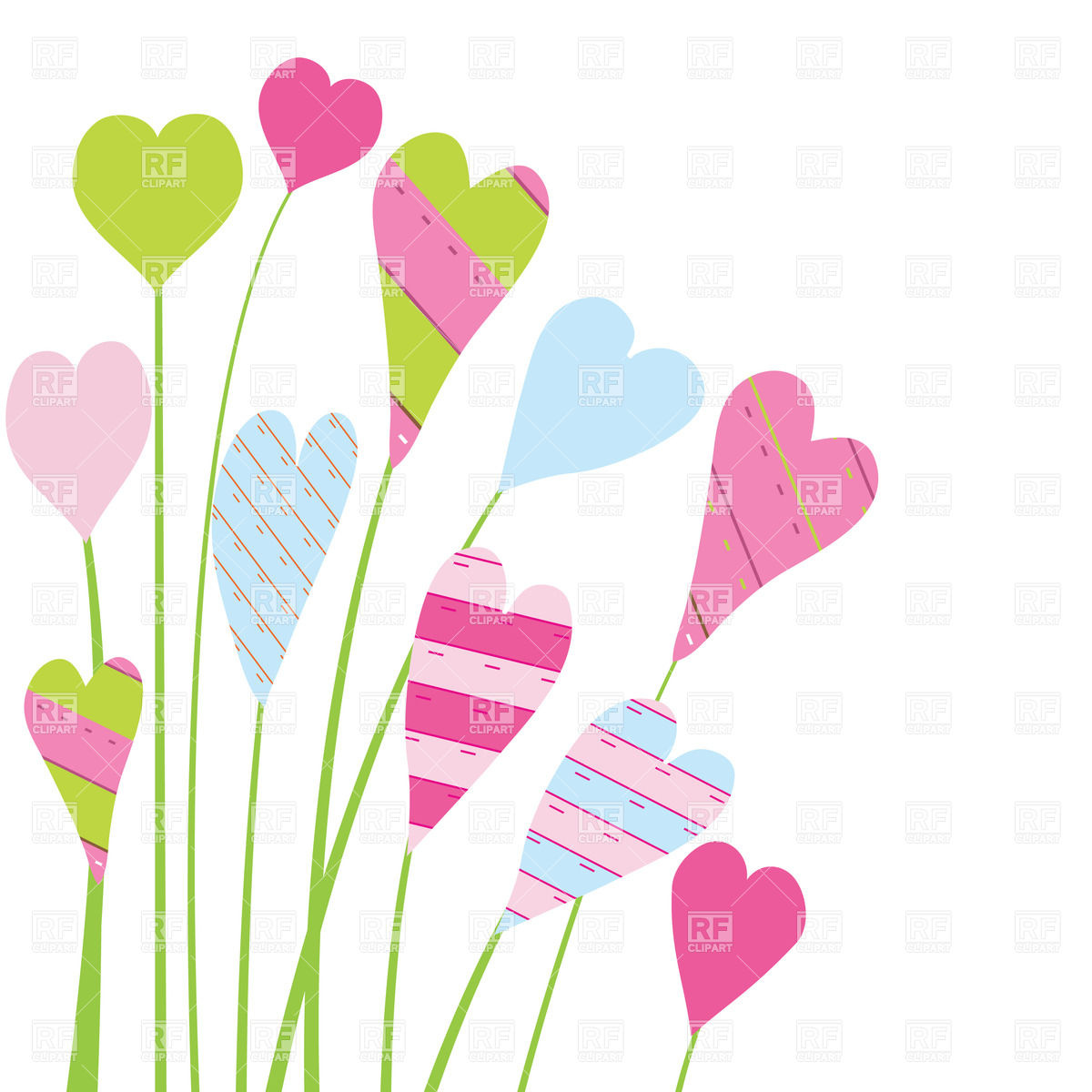 Kid over white background. Clipart hearts and flowers