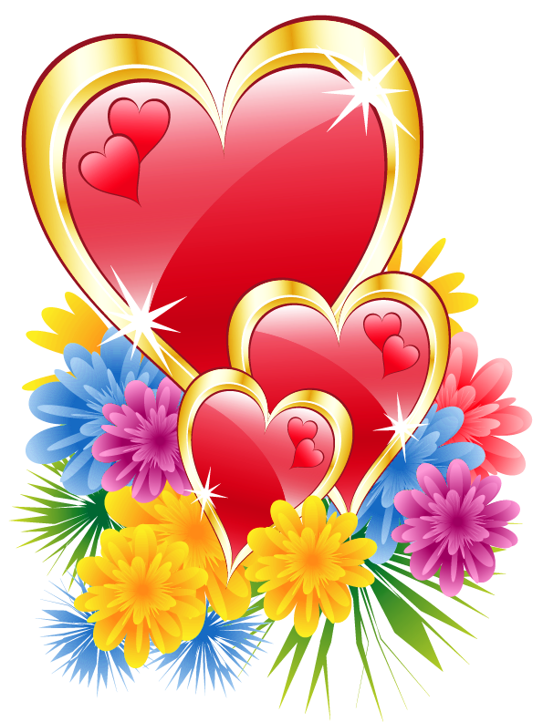 Heart with flower clipart clip library Valentine Hearts with Flowers PNG Clipart Picture | Hearts !! Hearts ... clip library