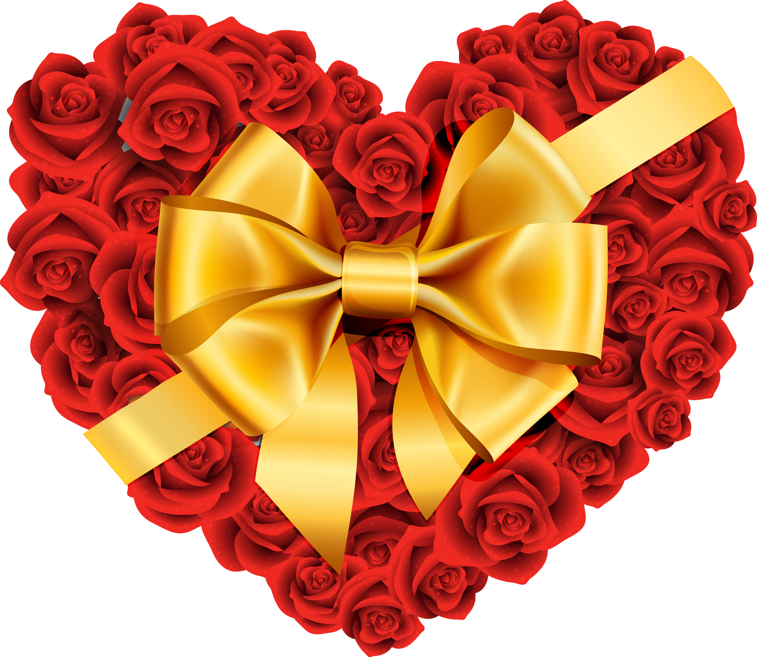 Heart with flower clipart graphic free stock Large Rose Heart with Gold Bow PNG Clipart graphic free stock