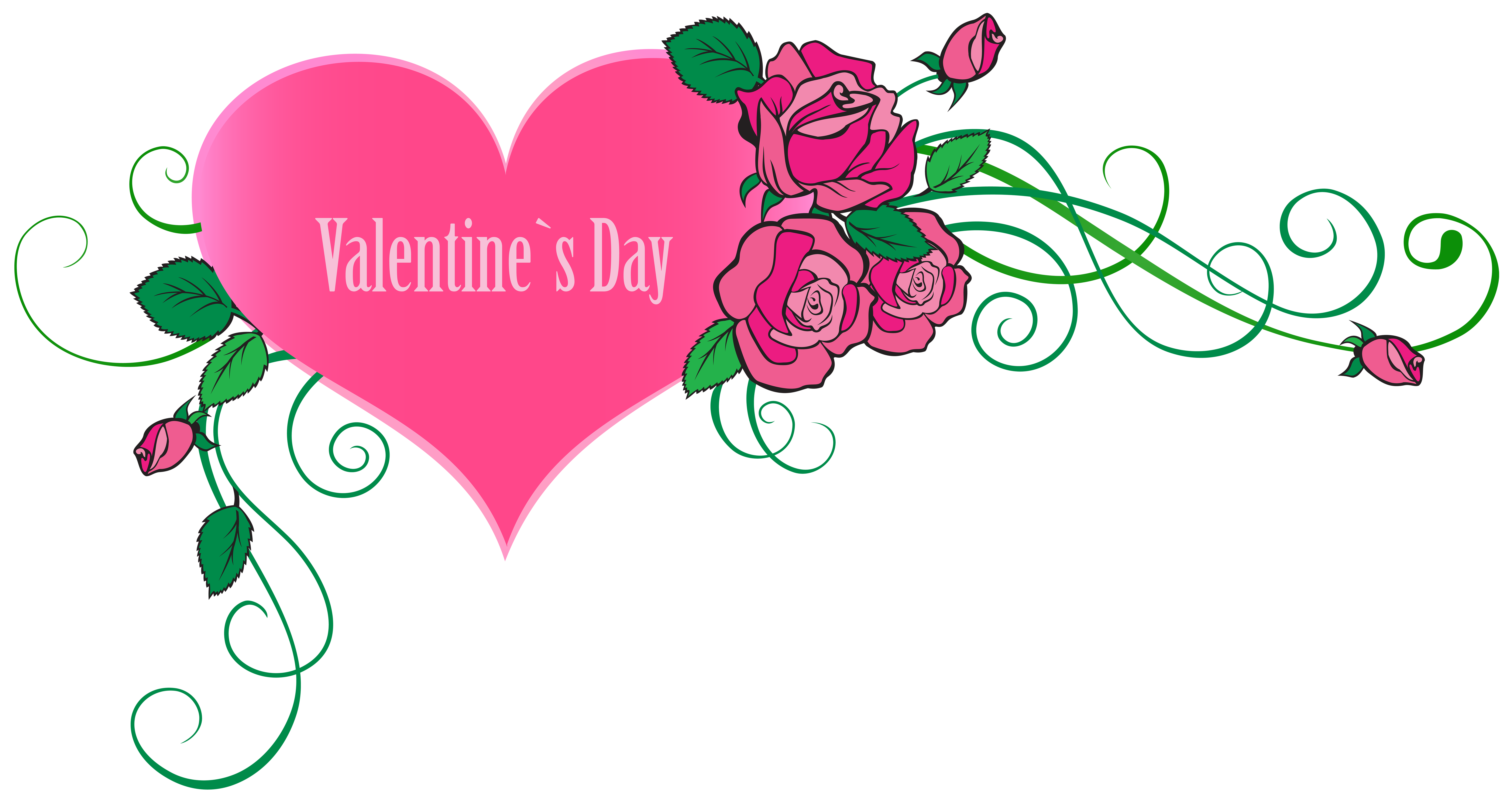 Clipart hearts and roses free download Happy Valentine's Day Heart with Roses Transparent PNG Clip Art Image free download