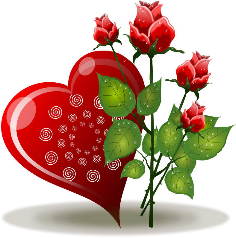 Clipart hearts and roses. Clipartfest free red with