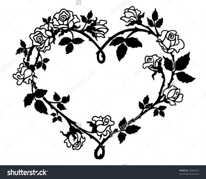 Clipart hearts and roses. Heart retro illustration stock