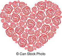 Rose heart stock illustration. Clipart hearts and roses