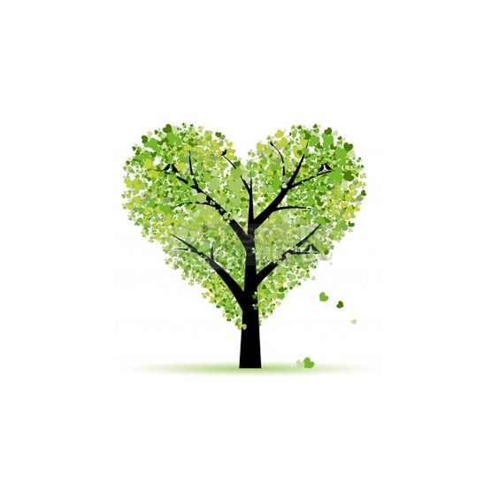 Clipart hearts in tree. Clip art vector of