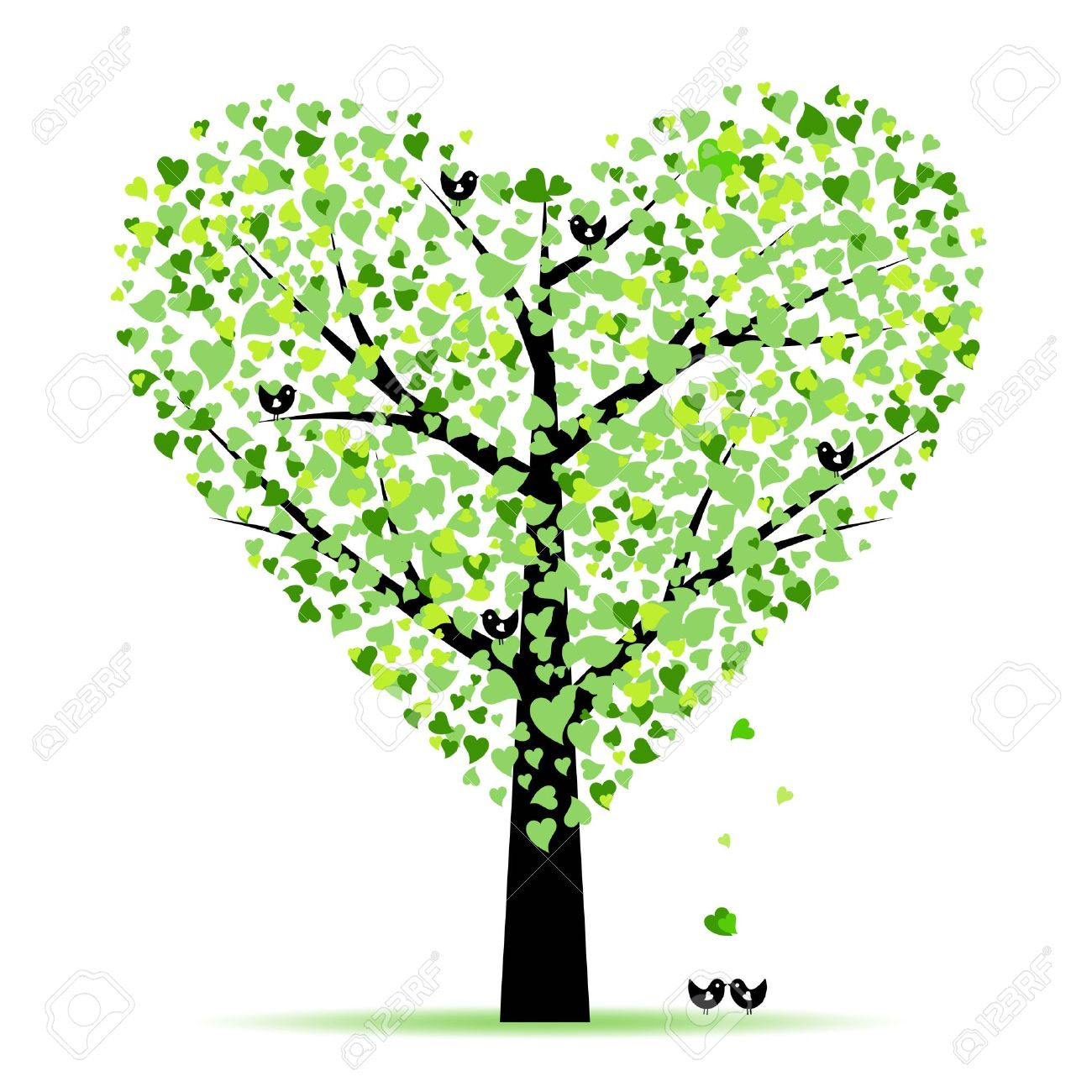 Clipart hearts in tree png black and white library Tree clipart hearts - ClipartFest png black and white library