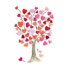 Owl on art print. Clipart hearts in tree