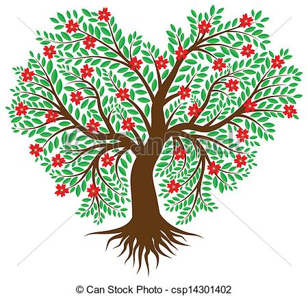 Clipart hearts in tree clipart black and white library Tree with hearts clipart - ClipartFest clipart black and white library