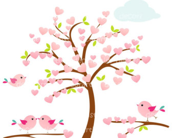Clipart hearts in tree image black and white stock Heart Tree Clipart - Clipart Kid image black and white stock