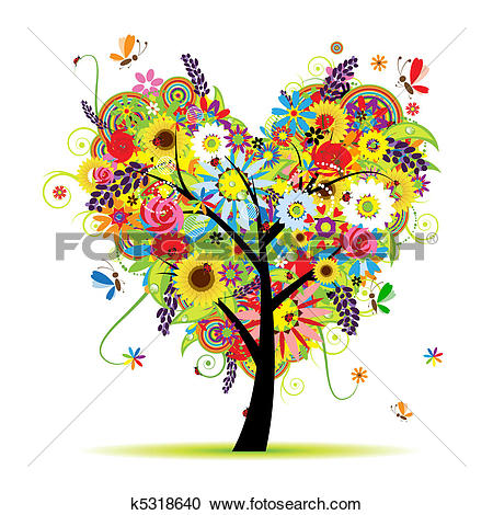 Clipart hearts in tree picture free Clipart of Valentine tree, love, leaf from hearts k3637072 ... picture free