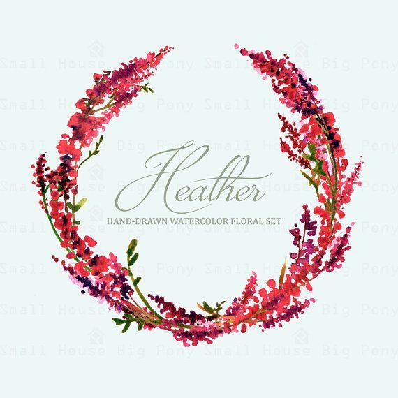 Clipart heather vector download Watercolour Floral Clipart: Scot Heather Sprigs Wreath   zaproszenia ... vector download