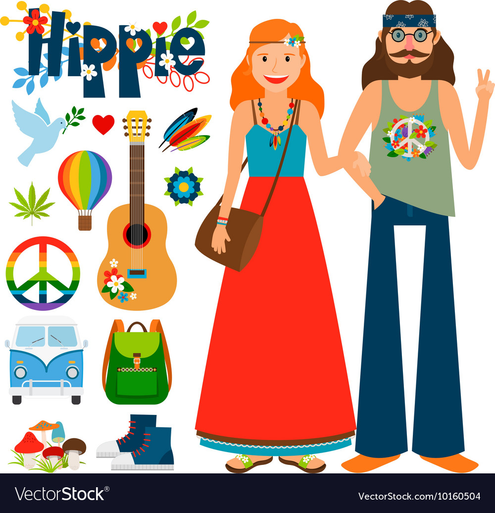 Clipart hippie era 1960 s printable free download vector black and white stock Hippie people icons vector black and white stock