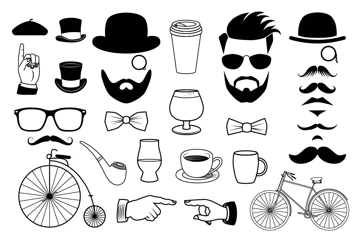 Clipart hipster clipart library download Hipster Graphics Clipart Set clipart library download