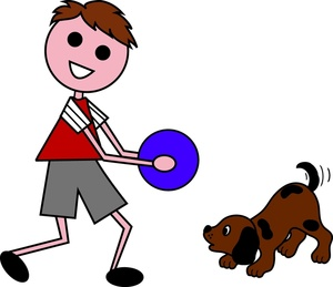 Clipart his graphic library stock Boy Cartoon Clipart Image - Cartoon Kid Playing with His Cartoon Dog graphic library stock