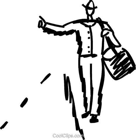 Clipart hitchhiker image black and white library Walking and Hitchhiking Royalty Free Vector Clip Art illustration ... image black and white library