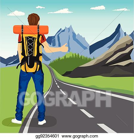 Clipart hitchhiker png freeuse download Vector Clipart - Rear view of young man doing hitchhiking on road in ... png freeuse download