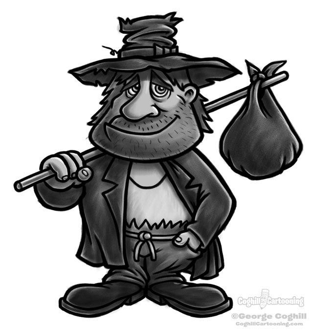 Clipart hobo clip black and white stock Cartoon hobo clipart 3 » Clipart Portal clip black and white stock