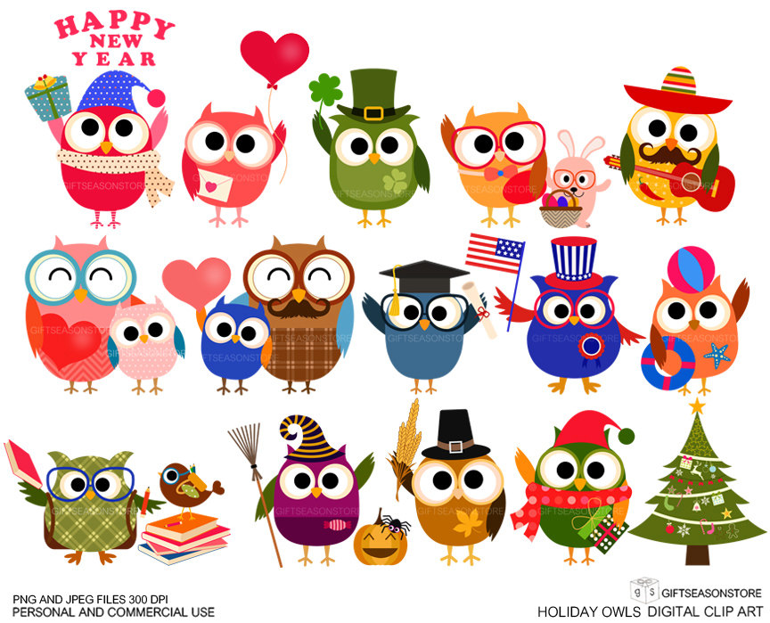 Holiday in clipart graphic royalty free stock Holiday owls Digital clip art | Clipart Panda - Free Clipart Images graphic royalty free stock