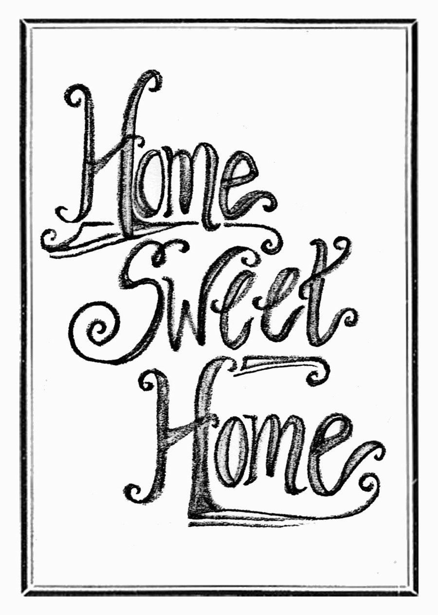 Clipart home sweet home banner royalty free Home Sweet Home Black And White Clipart - Clipart Kid banner royalty free