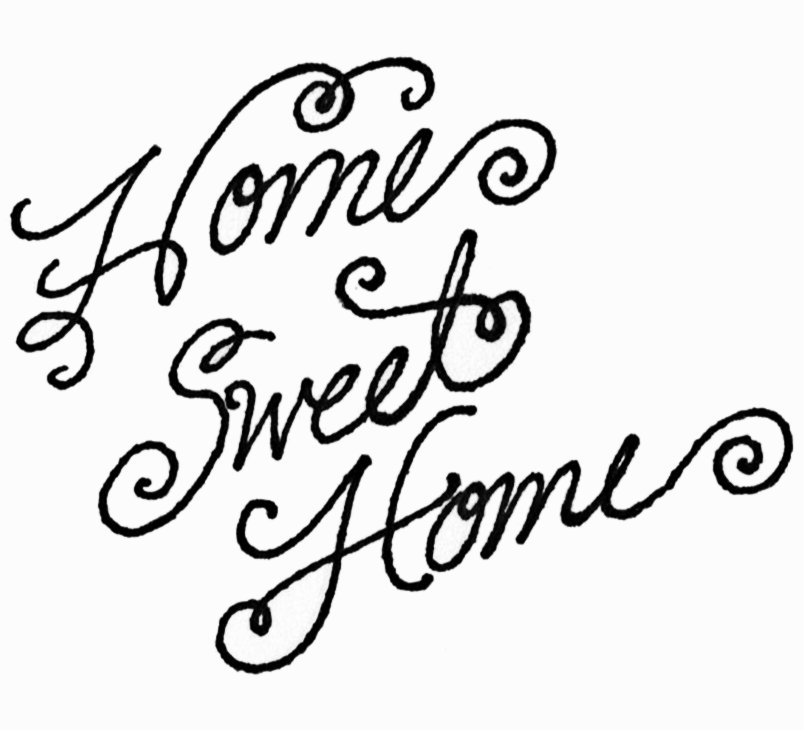 Black and white kid. Clipart home sweet home