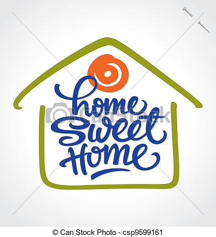 Clipart home sweet home. Vector illustrations hand lettering