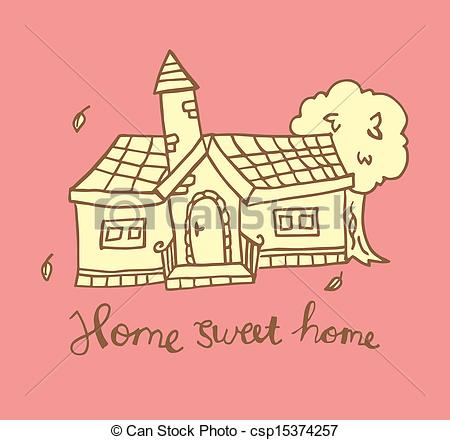 Clipart home sweet home jpg transparent stock Clipart Vector of home sweet home doodle csp15374257 - Search Clip ... jpg transparent stock