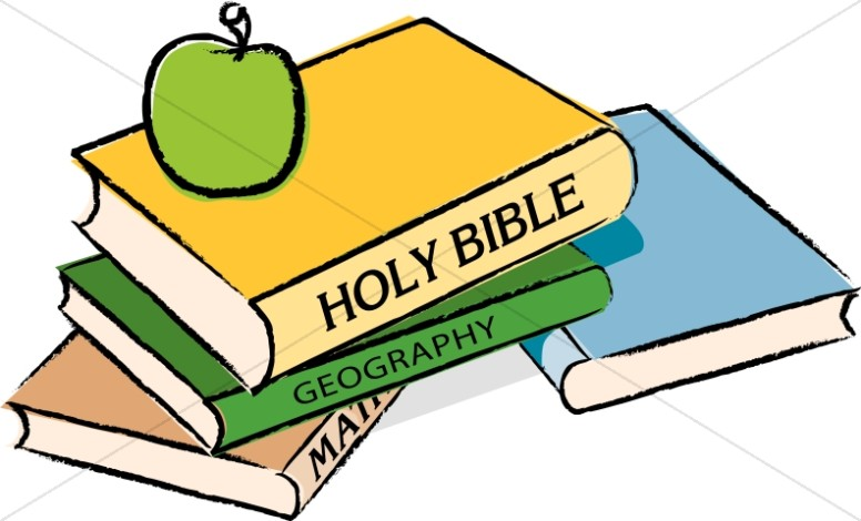 Clipart homeschool png library Bible with Books and an Apple   Homeschool Clipart png library