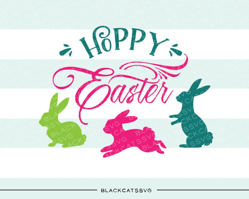 Hoppy bunny clipart clip art freeuse Happy Easter SVG Hoppy easter bunnies svg file Cutting File Clipart in Svg,  Eps, Dxf, Png for Cricut & Silhouette clip art freeuse