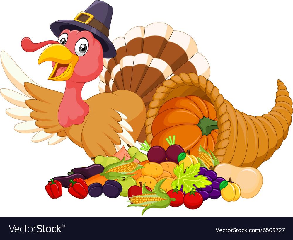 Clipart horn of plenty royalty free Cartoon turkey with horn of plenty isolated royalty free