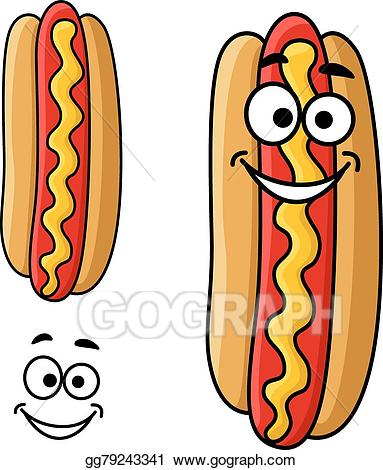 Hot dog cartoon clipart picture stock Vector Art - Cartoon hot dog with mustard. Clipart Drawing ... picture stock