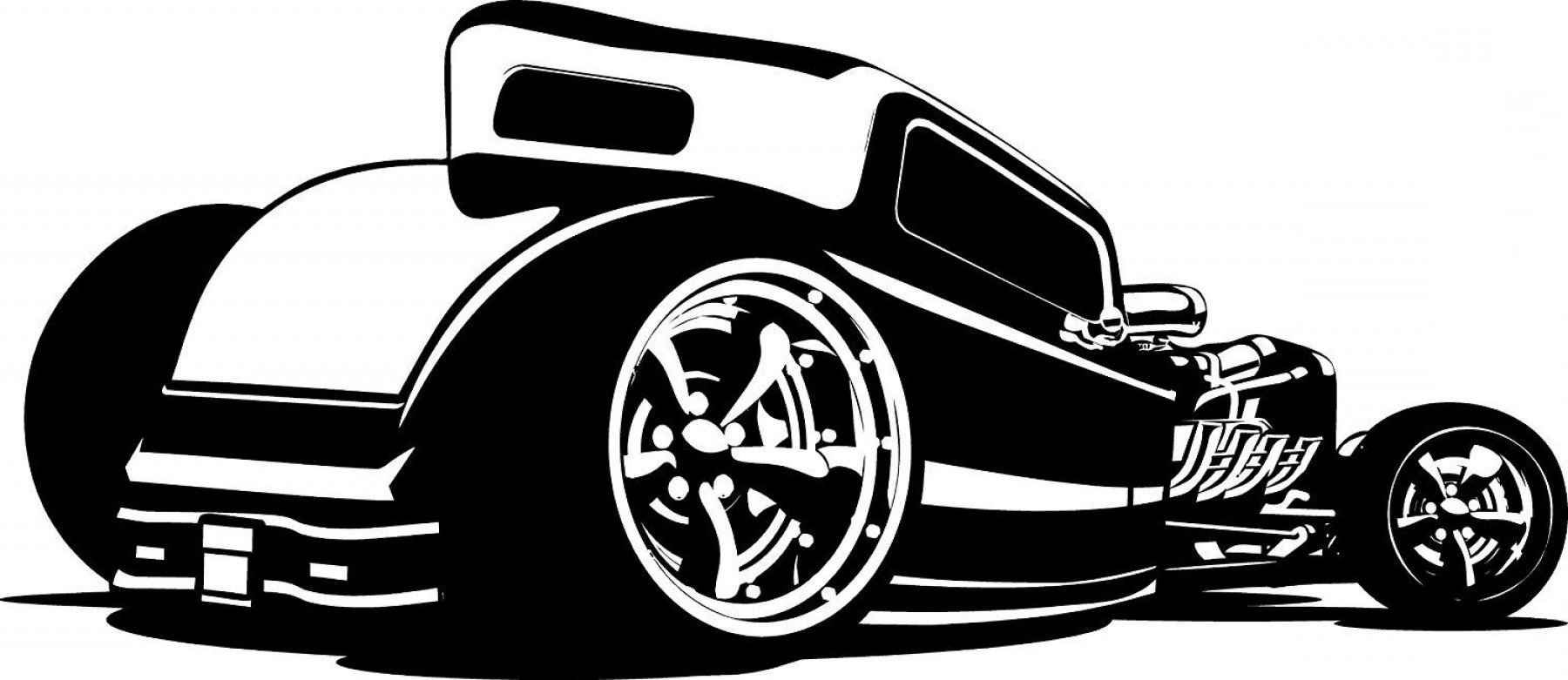 Hotrod clipart library Hot Rod Clipart Black And White | SOIDERGI library