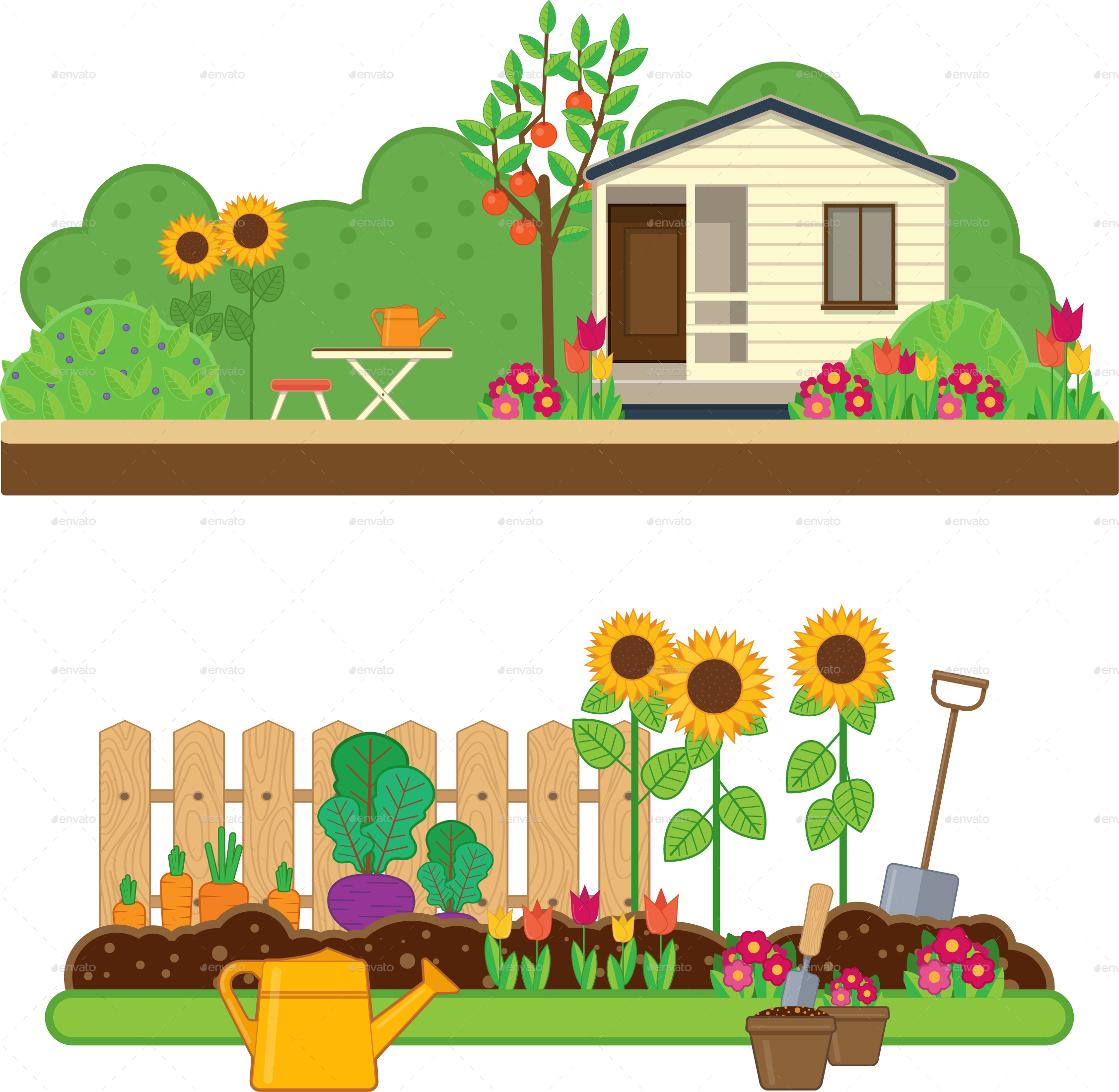 House and yard clipart black and white stock Gardening Set by Sabina-s | GraphicRiver black and white stock