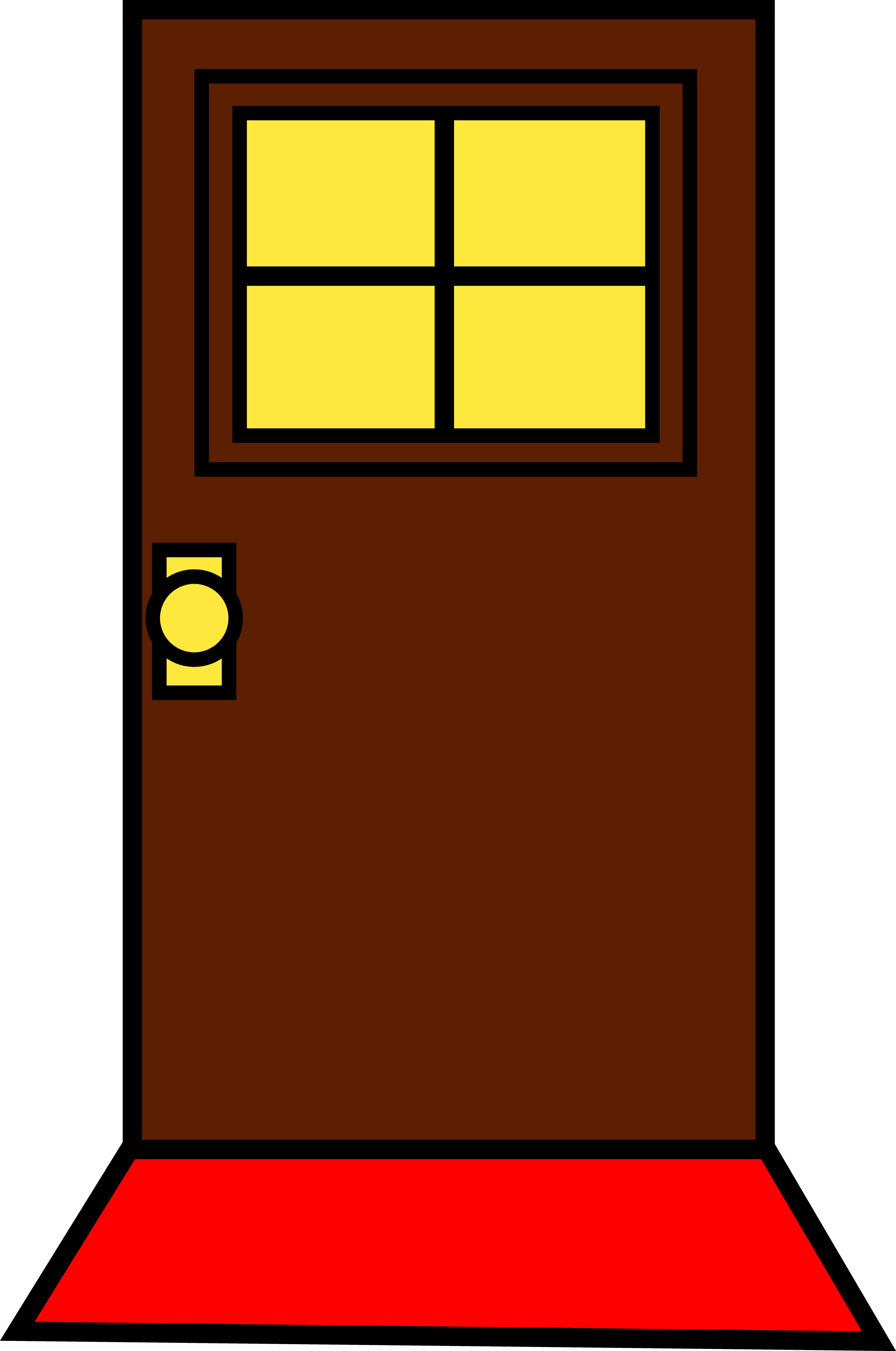 Simple house front clipart graphic black and white House Door Clipart graphic black and white