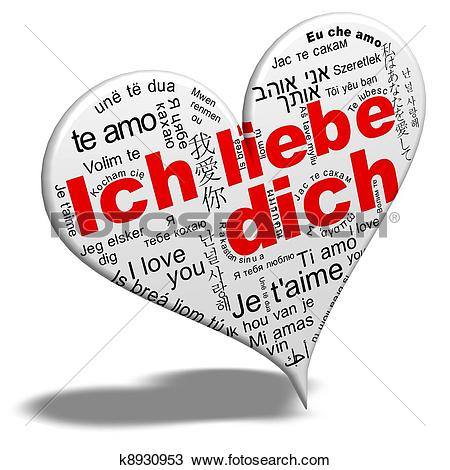 Drawing of liebe dich. Clipart ich