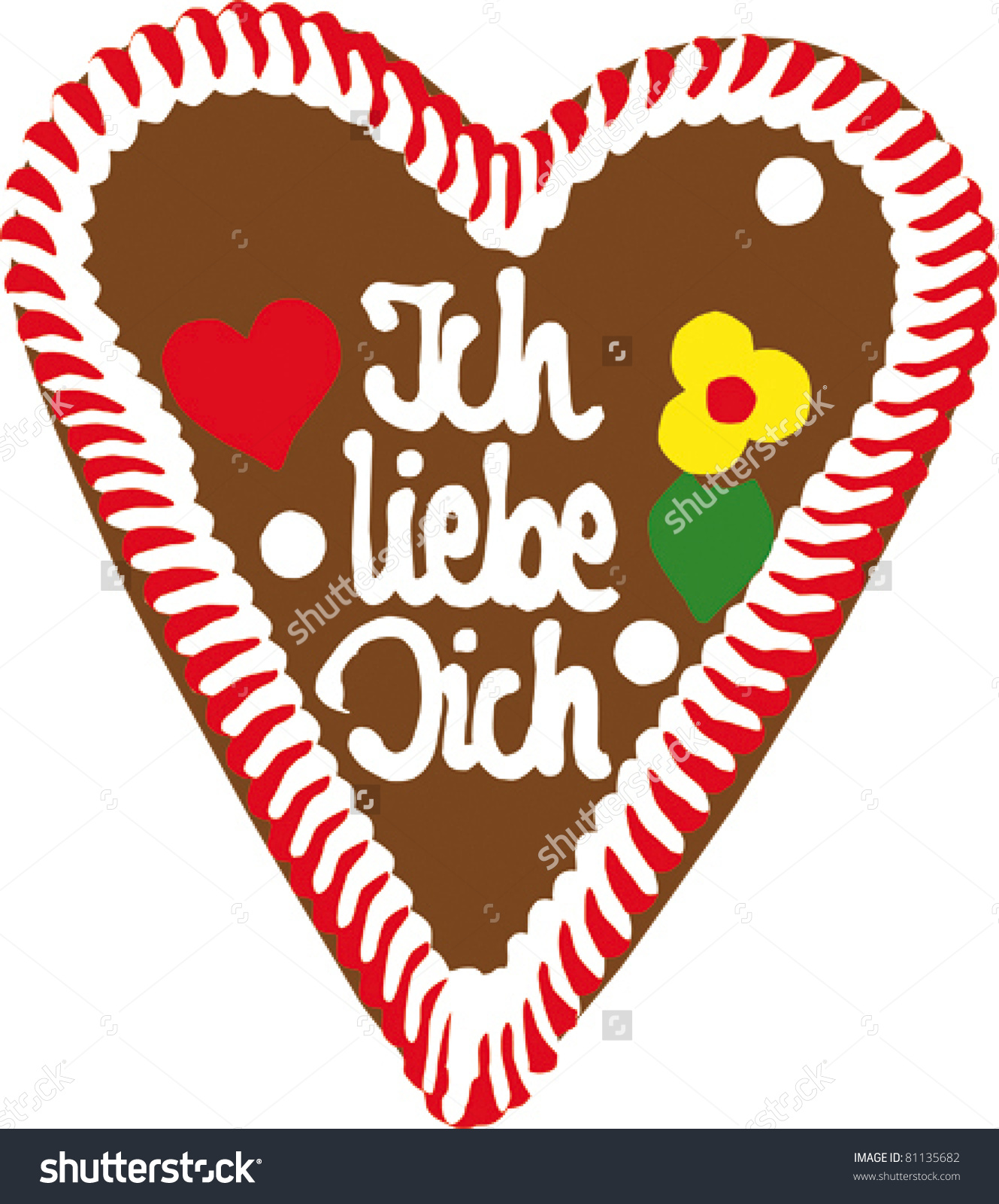 Clipart ich liebe dich picture library Gingerbread Oktoberfest Heart Saying Ich Liebe Stock Vector ... picture library