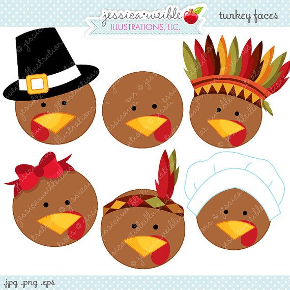 Clipart if a knight at thanksgiving dinner graphic free stock Turkey Faces Cute Thanksgiving Digital Clipart, Commercial Use OK ... graphic free stock