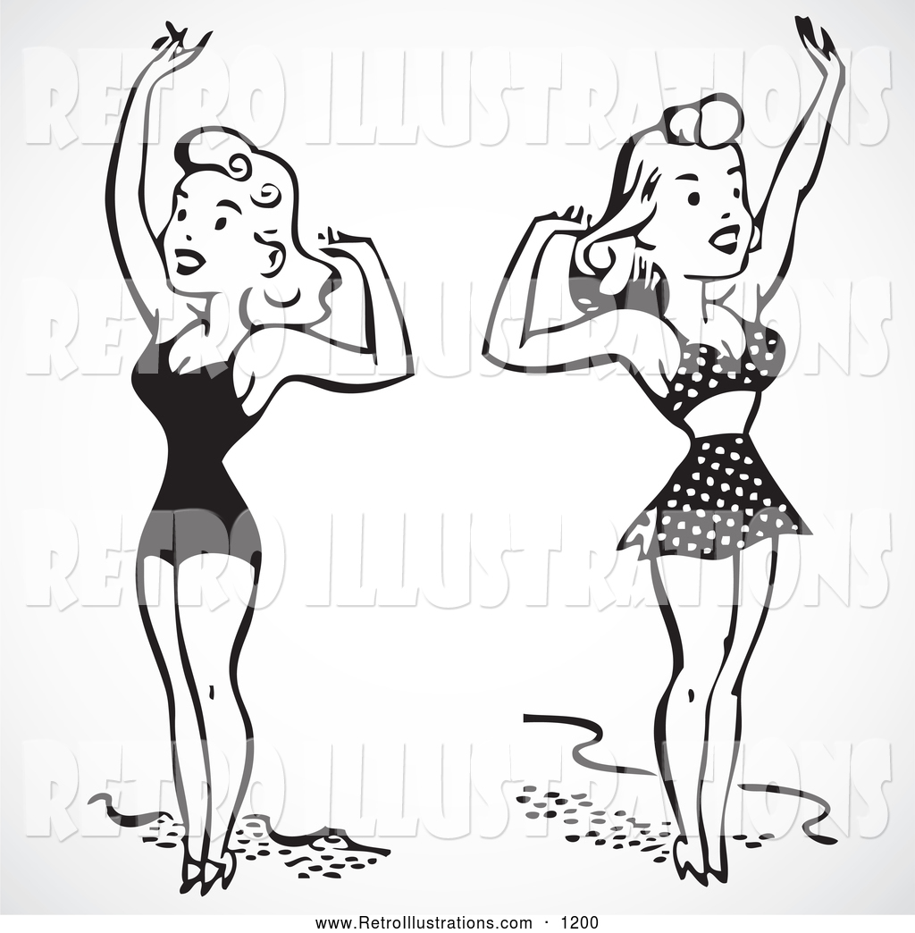 Clipart illustration lady in vintage bathing suit clipart transparent download Retro Illustration of a Black and White Women in Bathing Suits ... clipart transparent download