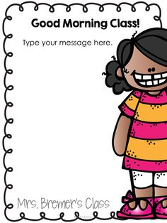 Messages editable pack. Clipart image class morning message