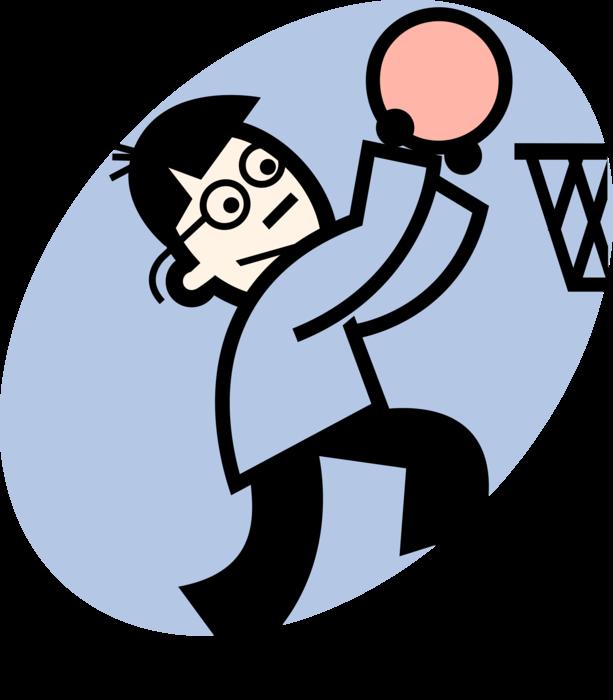 Clipart image of basketball jumpshot jpg library stock Basketball Player Makes Jump Shot - Vector Image jpg library stock