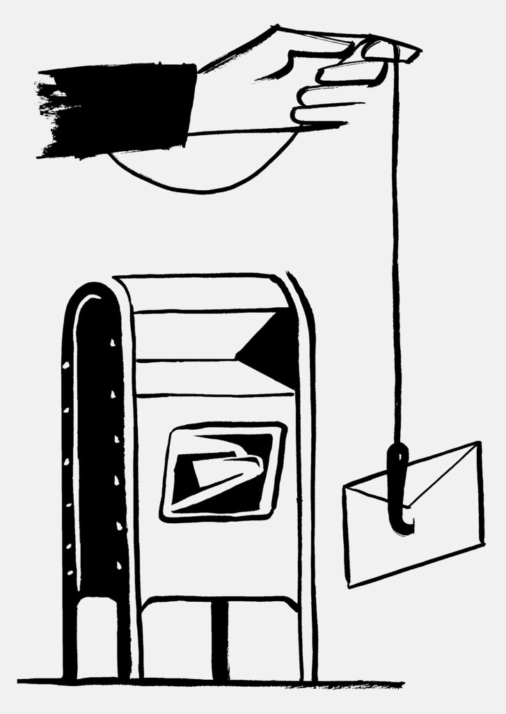 """Clipart image of card delivery to mailbox vector black and white library The """"Cadillac of Mailboxes"""" Arrives in N.Y.C. 