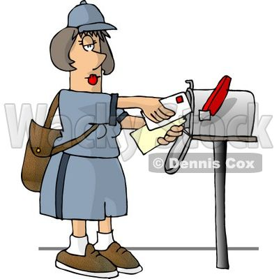 Clipart image of envelope delivery to mailbox jpg download Post Office Worker Clip Art   ... Carrier Delivering Mail Into a ... jpg download
