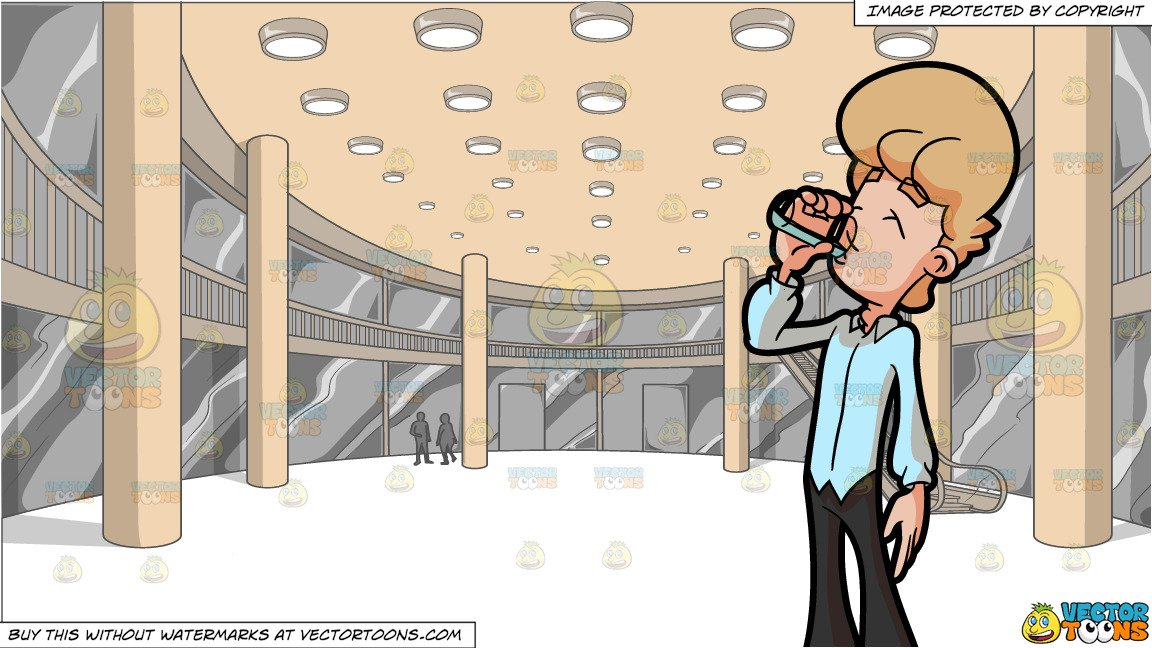 Clipart image of man holding a glass of water black and white stock A Man Drinking A Glass Of Water and A View Of The Activity Center Of A Mall black and white stock